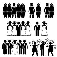 Polygamy Marriage Multiple Wife Husband Stick Figure Pictogram Icons.