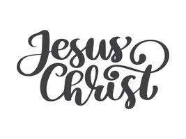 Hand drawn Jesus Christ lettering text on white background