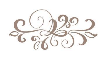 Handritad gränsblom separator Kalligrafi designelement