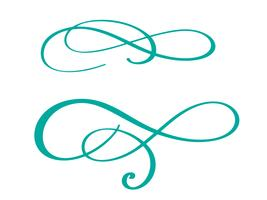 handdragen blomstra kalligrafi element. Vektor illustration