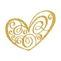 Vector gold paint heart calligraphy on transparent background
