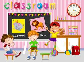 Crianças, tendo divertimento, em, sala aula
