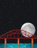 Scène avec la pleine lune sur la rivière