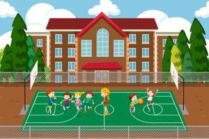 Crianças, tocando, basquetebol, cena