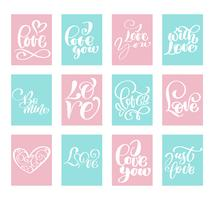 Modèles de cartes Saint Valentin Big Set Love Vector