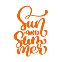 Sun and Summer lettering vector logo illusrtation