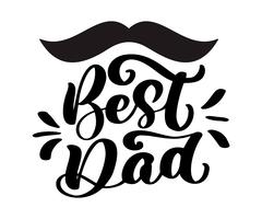 Isolated Happy fathers day quotes on the white background. Best dad in the world. Congratulation label, badge vector. Mustache, stars elements for your design