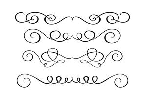 Set hand drawn flourish Calligraphy elements. Vector illustration on a white background
