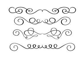 Conjunto mão desenhada florescer elementos de caligrafia. Ilustração vetorial em um fundo branco