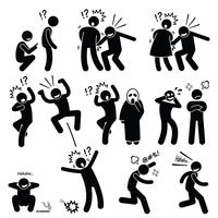 Funny People Prank Playful Actions Stick Figure Pictogram Icons.
