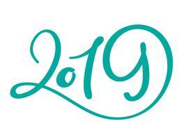 Modelo de design de cartão com caligrafia chinesa 2019 ano novo grunge número 2019 mão desenhada letras. Ilustração vetorial