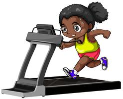 African american girl running on treadmill vector