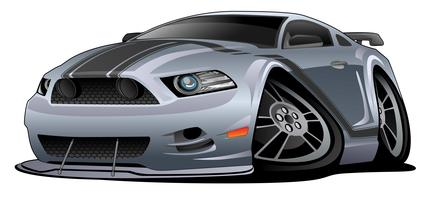 Modern American Muscle Car Cartoon Vector Illustration