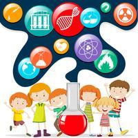 Los niños y los símbolos de la ciencia.