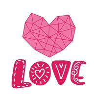 Grafisk blommig geometri hjärta och text kärlek. Vektor illustration isolerad på bakgrunden. Bröllop, St. Valentinsdagstilutsmyckning för affischer och hälsningskortdesign