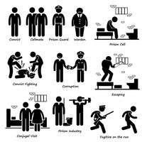 Prison Jail Convict Prisoner Inmates Guard Warden Stick Figure Pictogram Icons.