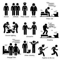 Prisión Cárcel Condena Prisioneros Prisioneros Guardia Guardián Figura de palo Iconos de pictogramas.