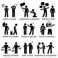 Humano oposto comportamento positivo vs traços de caráter negativos Stick Figure pictograma ícones.
