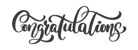 Hand written Congratulations calligraphy text