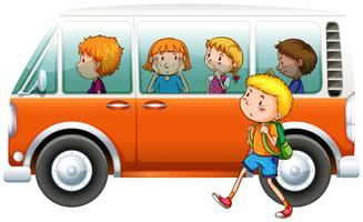 Boy walking pass camper van