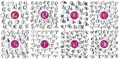 Set letter Q, R, S, T, U, V, W, X Hand drawn vector flourish calligraphy. Script font. Isolated letters written with ink. Handwritten brush style. Hand lettering for logos packaging design poster