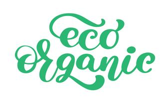 Eco Organic icon hand drawn calligpaphy isolated vector illustration