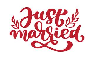 Just married hand lettering text for wedding cards and invitation