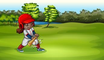 A young woman playing baseball