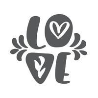 Conception de carte de voeux amour avec texte rouge élégant pour Happy Valentines Day celebration. Citation lettrée scandinave. Texte vintage de vecteur, expression de lettrage. Isolé sur fond blanc