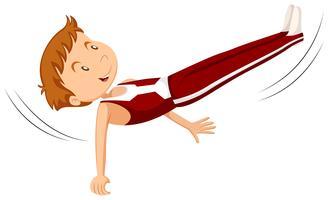 Mensenatleet die gymnastiek doen