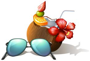 A refreshing drink and a sunglasses for a beach outing
