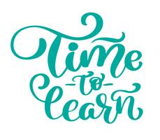 Time to learn Vector vintage text