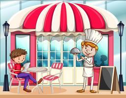 Escena de cafe con chef y cliente.