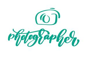 appareil photo photographe logo icône vector modèle calligraphique inscription photographie texte isolé sur fond blanc