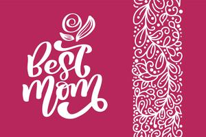 Best Mom greeting card vector calligraphic inscription phrase