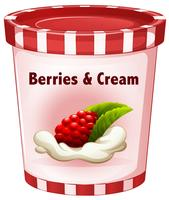 Berries and cream in cup
