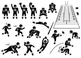 American Football Player Actions Poses Stick Figure Pictogram Icons.