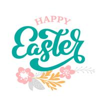 Hand drawn lettering Happy Easter with flowers, branches and leaves Scandinavian vector illustration. Design for invitations, greeting cards. Isolated on white background