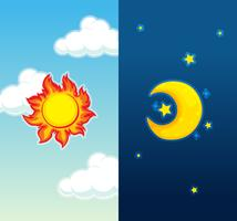 Daytime and nightime scene vector