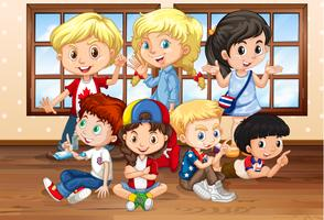 Många barn i klassrummet