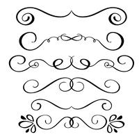 Set hand drawn flourish Elementos de caligrafia