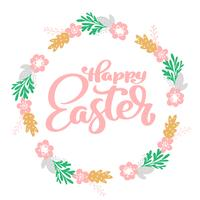 Hand drawn lettering Happy Easter wreath with flowers