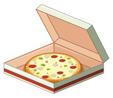 Tray of pizza in paper box