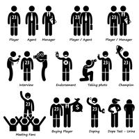 Sportsman Sport Player Management Stick Figure Pictogram Icons.