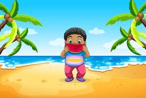 Chubby pojke som äter vattenmelon