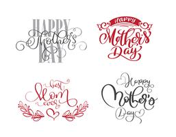 happy mothers day set Hand drawn lettering quotes
