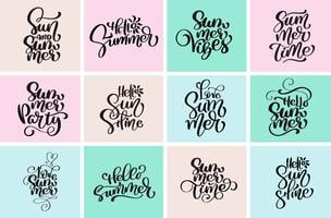 Set typographic hello summer designs