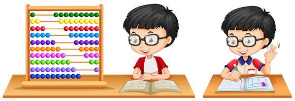 Jongen die math bestudeert die telraam gebruikt