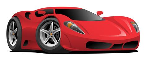 Red Hot European Style Sports-Car Cartoon Vector Illustration