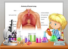 Ragazza che impara nella classe di scienze